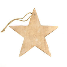 Hanging Wood Star Christmas Tree Ornament, White Wash, 7-Inch