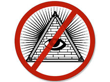 "4""  STICKER NO ILLUMINATI PYRAMID EYE SIGN ANTI MASONIC CULT STICKER DECAL"
