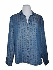 Cloth & Stone Button Down Front Shirt, Size S, Long Sleeves, Blue