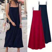 Womens Summer Bohemian Sleeveless Dress Strappy Sexy Party Beach Dress Plus Size
