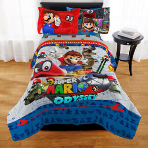 KIDS GIRLS BOYS SUPER MARIO BED IN A BAG / COMFORTER SET- 2 PRINTS