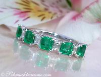 Exquisiter Diamanten Ring mit kolumbianischen Smaragden 1.41 ct. WG-750 ab 4750€