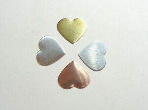 2 x Puffy Heart blanks jewellery making. Copper Brass Aluminium Silver All sizes