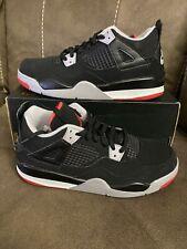 Jordan BQ7669-060 Baby Retro 4 Sneakers - Black/Fire Red-Cement Grey - Sz 1y