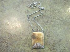 Antique Mini Perfume Flask Pendant Sterling Silver & Bone w Sterling Chain