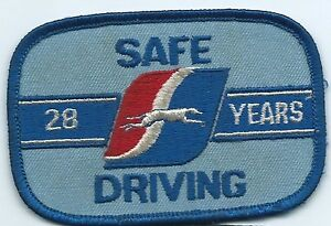 """Greyhound Bus """"28 years safe driving"""" driver patch 2-1/2 X 3-3/4 inch"""