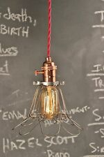 Industrial Lighting - Vintage Copper Pendant Lamp - Steampunk Hanging Cage Light
