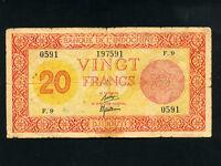 Djibouti:P-15,20 Francs,1945 * PALESTINE PRINTER * RARE