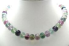 Halskette Edelsteine Natur Fluorit Rondel 10mm grün violett Kette 47cm