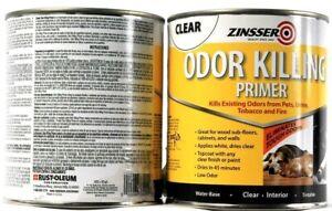 2 Can Zinsser 307648 Clear Odor Killing Primer Water Base Interior Tintable 32oz
