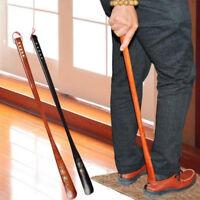 1Pc 55cm convenient flexible long handle shoehorn wooden shoe horn aid stickSE