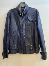 Men's Adolfo Dominguez Blue Leather Jacket , Size 50 EU/ Uk Large