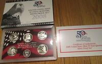 2008 U.S. Mint Silver Quarter Proof Set  with Box & COA 5 State Silver Quarters