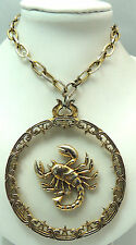"Vintage 18.5"" Scorpion Necklace w/ Large Clear Plastic Pendant Scorpio Gold Tone"