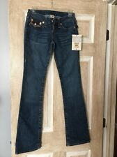 New Women's True Religion Jeans, Light Blue, Size 25, Bootcut, Brown Stitching