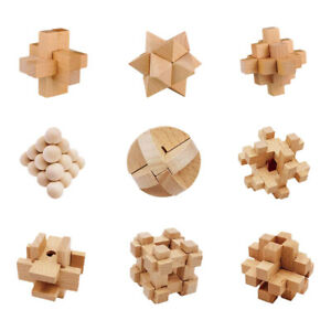 Holz Knobelspiele Set Puzzle Holzspiel Geduldspiele Knobelspiel 3D BrainteaserSF
