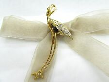 18K Gold Plate Flamingo Swarovski Element Austrian Crystal Rhinestone Brooch Pin