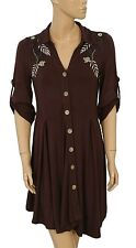 135375 NWD Caite Floral Embroidered  Buttondown Brown Dress Tunic Small S  US