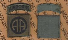 US Army 82nd Airborne Division OD Green & Black BDU Hook-n-Loop uniform patch
