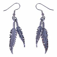 Feather Earrings, handmade of fine pewter and diamond cut for Sparkle.  Made USA