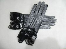 Black Sexy Lace Short Full Bridal Gloves Formal Wedding Party Gloves Accessory