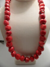 """Sterling Silver Red Coral  Bead Necklace 18 1/2"""""""