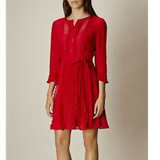 Karen Millen 12 UK Chantilly Red Ruffle Lace Pleat Shirt Dress Occasion Party