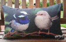 Rectangular Cotton Linen Cushion with insert - Pair of Superb Fairy Wren