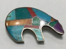 Vintage SS Inlay Bear Pin; Turquoise, Sugilite, Coral etc. Marked w Bear/Moon