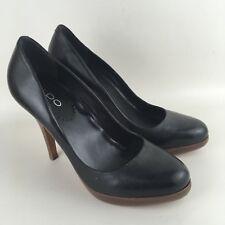 Aldo Black Leather Platform Wooden Look High Heel Court Shoes Size UK 5 EU 38