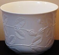 WHITE  PLANT POT 26 CM X 23CM WIDE  EMBOSSED FLOWERS PRICE IS RIGHT