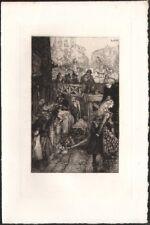 Auguste Lepère.  Petites boutiques de la rue Monge. Eau-forte. 1901