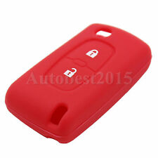 For Peugeot 307 407 207 107 Silicone Cover Remote Key Case Fob 2 Button Soft Red