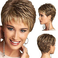 Women Bob Short Brown Wig Layered Curly Blonde Synthetic Hair Cosplay Full Wigs