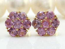 3.50CTW Natural Pink Sapphire in 14K Solid Yellow Gold Stud Earrings