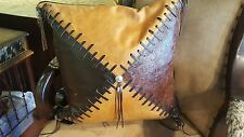 """Western Leather Accent Pillow 15"""" X 16""""  3 Different Styles to choose from"""