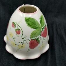 Ceramic Handmade Candle Jar Cover Topper Large White Strawberries New