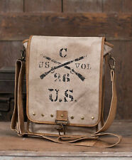 US.Army Messenger Canvas & Leather Shoulder Bag Stenciled Crossed Rifles & Brass