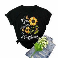 Women Cotton Sunflower Print Round Neck T-shirt Ladies Summer Blouse Casual Tops