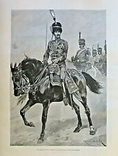 LATE DUKE OF CLARENCE, Officer Uniform, 10th Hussars, Vintage 1892 Antique Print