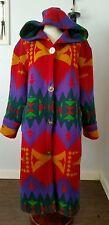 Vintage Gallery indian blanket, navajo full length hooded wool boho coat L