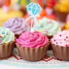 10 Paper Diamond Shape Cake Topper Cupcake Pick Wedding Engagement Decor