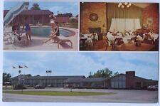 Vintage Chrome Pool Scene Interior Exterior Survey Inn Caldwell Texas Postcard