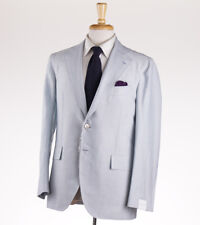 NWT $4900 ORAZIO LUCIANO Sky Blue Stripe Wool-Linen-Silk Suit 40 R Classic-Fit