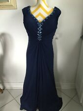 New Joanna Chen Navy Blue Evening Gown Size 14