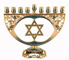 Menorah with Star of David is Hand Made with Blue Enamel, Blue Swarovski Crystal