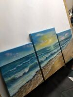 "Art,25""/12""oil painting, Seascape,sunset by Laura Livetskiy, Oceanside panoramic"