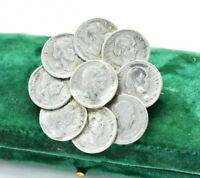 Vintage Sterling silver brooch pin 5 cent coins 1898 Art Nouveau statement #W533
