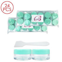24PCS 10G/10ML Makeup Cream Cosmetic Green Sample Jar Containers with Spatulas