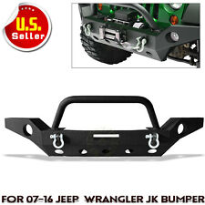Full Width Front Bumper W/Fog Light Hole &Winch Plate For 07-17 Jeep Wrangler JK